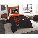 2 Piece Hockey League Flyers Comforter Twin Set, Sports Patterned Bedding, Team Logo Fan Merchandise