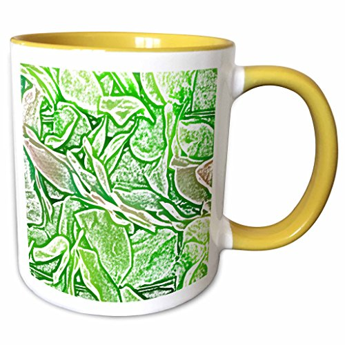 3dRose Susans Zoo Crew Flowers - green lei sketch flowers - 15oz Two-Tone Yellow Mug (mug_186596_13) (Two Flower Tone Lei)
