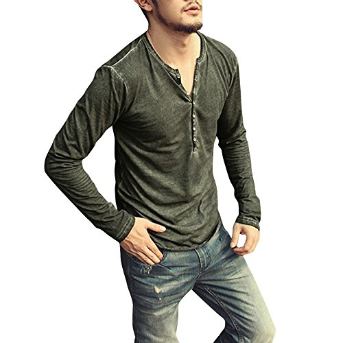 Mens Long Sleeve Shirt ! Charberry Mens Leisure Distressed V-Neck Henry Shirt Autumn Casual Vintage T-Shirt Top Blouse (US-L/CN-XL, Green) -