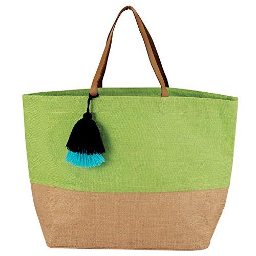 Mud Pie Fashion - Mud Pie 8613351GR Color Block Jute Tote Bag, Green