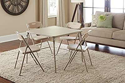 Cosco 5-Piece Folding Table and Chair Set, Antique Linen