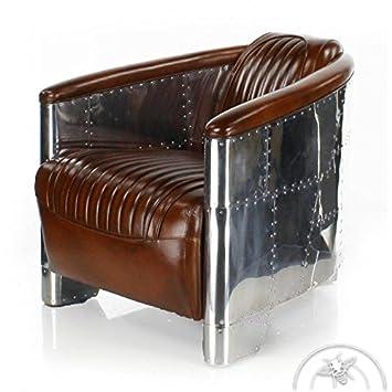 distribué par Saulaie Fauteuil club cuir marron vintage - Aviator ... 7423991bc363