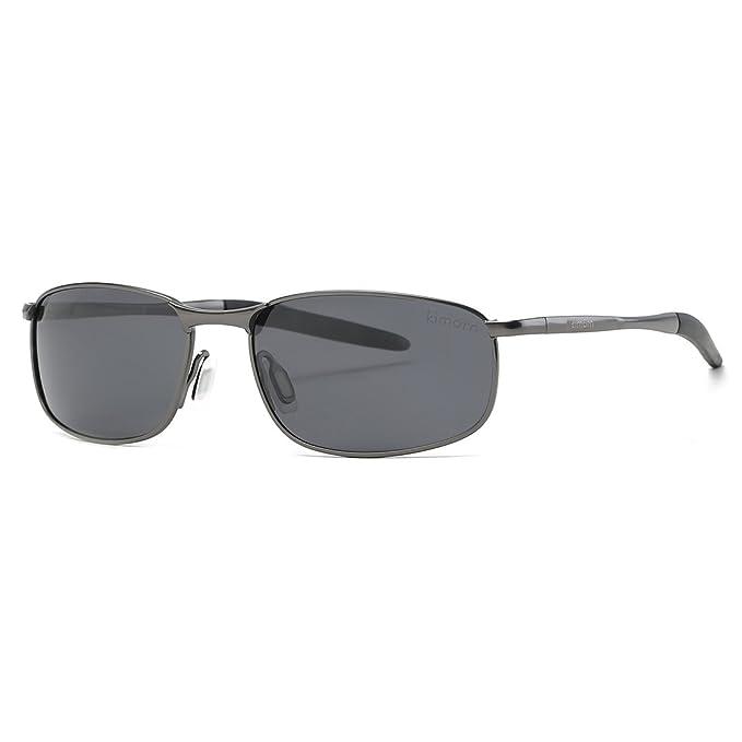 kimorn Polarizado Gafas de sol Hombre Retro Rectangulares metal Marco K0535 (Gris&Negro)