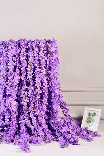 AlphaAcc Purple Artificial Silk Wisteria Flower Hanging Garland Home Wedding Party Decor, Pack of 5