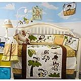 SoHo Baby Crib Bedding 10Pc Set, Curious Monkey