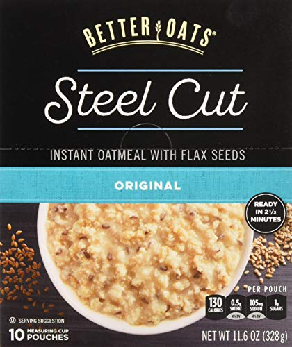 - Better Oats Steel Cut Oats with Flax Classic 10 Pouches 11.6 oz (Pack of 2)