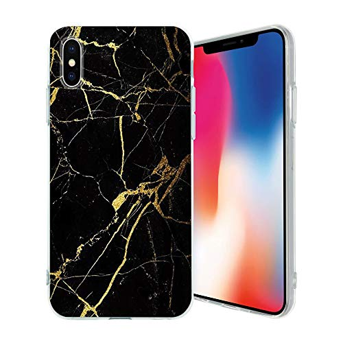TPU Soft Slim Phone Case, Fully Wrapped Drop-Proof, Classic Marble Design, Compatible for iPhone X/XS(Black Marble)