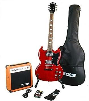 KEYTONE SG de Style Guitarra eléctrica Set Red con amplificador 20Watt & Accesorios