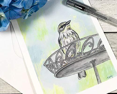 Bird Watercolor Art Print 5x7 - Finch Art Postcard - Blank Note Card - From Original Painting