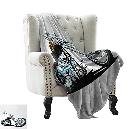 Weighted Blanket Adult Manly,American Chopper Motorcycle Competitions Tough Wild Cool Sport,Charcoal Grey White Light Blue Winter Luxury Plush Microfiber Fabric 35