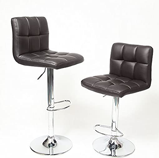 Wakrays Set Of 2, Bar Stools Leather Modern Hydraulic Swivel Dining Chair Barstools Chocolate
