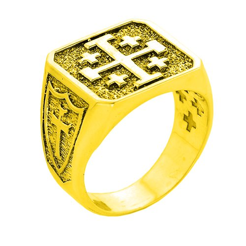 Solid 14k Yellow Gold Crusaders Band Jerusalem Cross Ring for Men (Size 8)