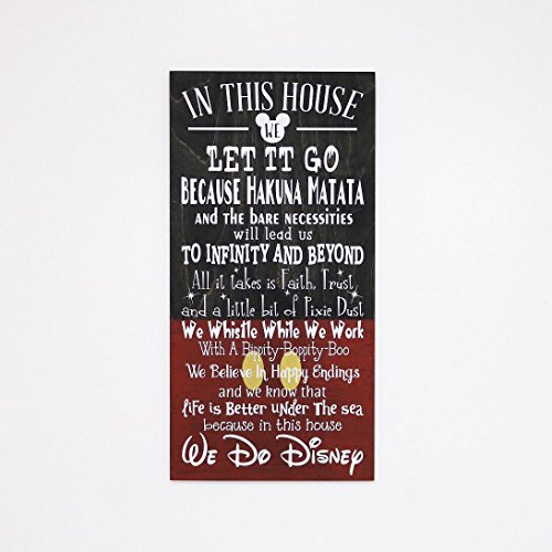 In This House We Do Disney Wooden Sign, Disney Sign, Shabby Chic Disney Quote Sign, We Do Disney, Home Decor, Children's Room Decor