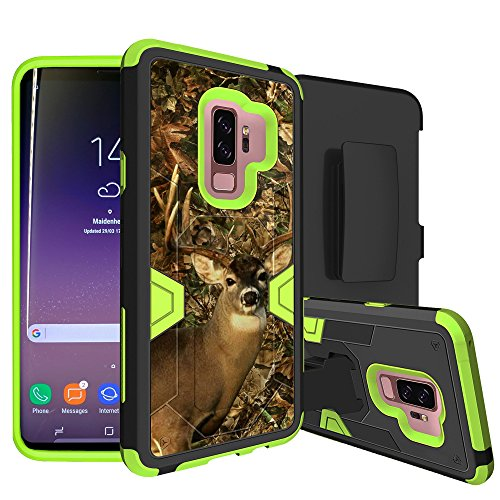 MINITURTLE Case Compatible w/ Samsung Galaxy S9 Plus Case w/ Hybrid Silicone & Hard Exterior [MINITURTLE MAX DEFENSE GREEN SERIES] Clip + Stand Case - Camouflage
