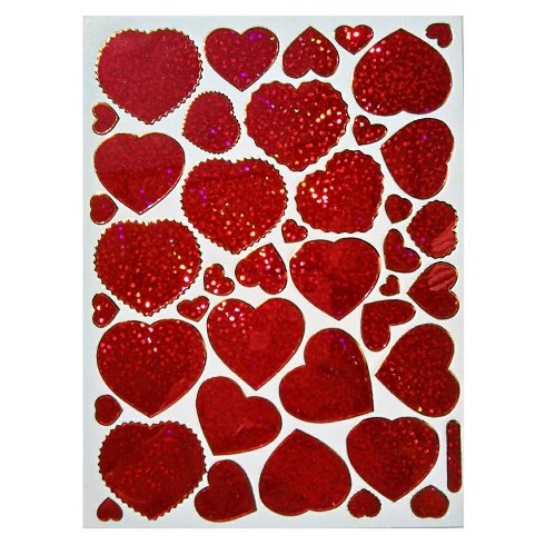 [Valentine's day Red Heart Decorative Stickers 10 sheets V1] (Abc Costume Ideas For Girls)