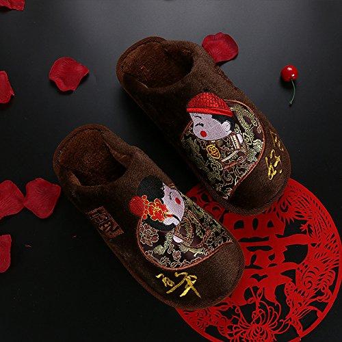 Inverno fankou coppie home soggiorno anti-slittamento pantofole di cotone bella di uomini e donne di cotone e di ,35/37, Marrone - Uomini