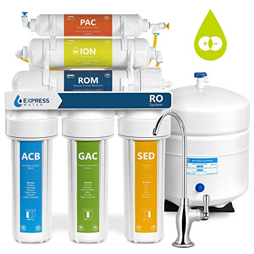 Express Water Deionization Reverse Osmosis Water Filtration System - 6 Stage RO DI Water Filter with Faucet and Tank - Distilled Pure - Under Sink Home Water Softener - 100 GPD