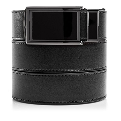 SlideBelts Men's Vegan Leather Belt without Holes - Black Buckle/Black Leather (Trim-to-fit: Up to 48