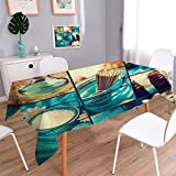 PINAFORE HOME Harmony Scroll Tablecloth Spa Collage Series Floral Water Salt Summer & Outdoor Picnics/W50 x L72 Inch