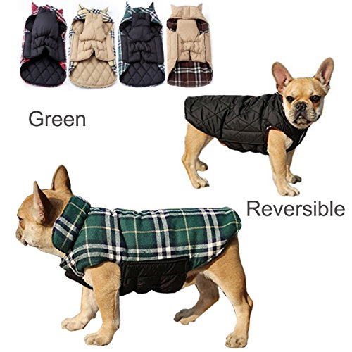 Pet Dog plaid Warm Coats and Jackets Hoodie Sweater Waterproof Snowproof Clothing Autumn Winter Reversible Clothes Warm Padded Apparel Waistcoat Sweatshirt Chest Protector(Green,S)