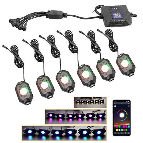 (RGB LED Rock Lights, Nirider Underglow LED Light Kit Neon Lights Waterproof Bluetooth Lights RGB Rock Lights For Truck Jeep Car Off Road ATV UTV Motorcycle Boat - 6 Pack)