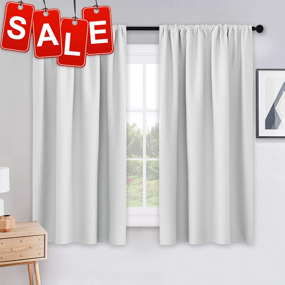 "PONY DANCE White Draperies & Curtains - Room Darkening Rod Pocket Top Thermal Insulated Noise Reducing Short Curtain Panels for Kitchen Bedroom, 42"" Wide x 45"" Long, Greyish White, 2 PCs"
