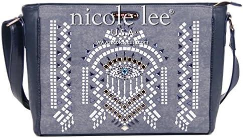 Nicole Lee Ramsha Stud Detail Messenger Bag, Blue, One Size