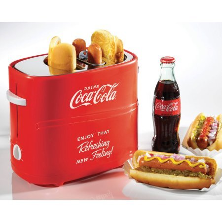 Nostalgia Coca-Cola Pop-Up Hot Dog Toaster with Mini Tongs For Removing Hot Dogs (1)