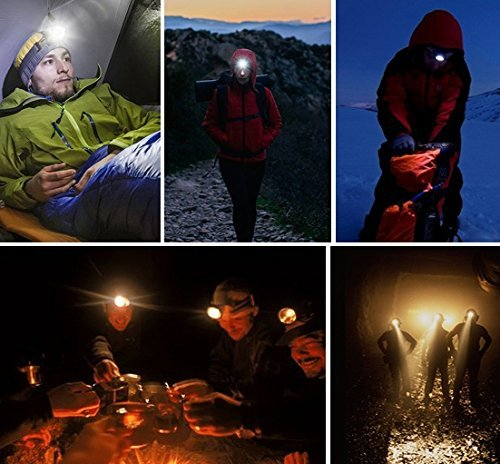 TOMOL 4-Pack LED Headlamp 3W Super Bright COB Flashlight for Running, Camping, Reading, Fishing, Hunting, Walking, Jogging - Headlamps Waterproof, Durable, Lightweight by TOMOL (Image #4)