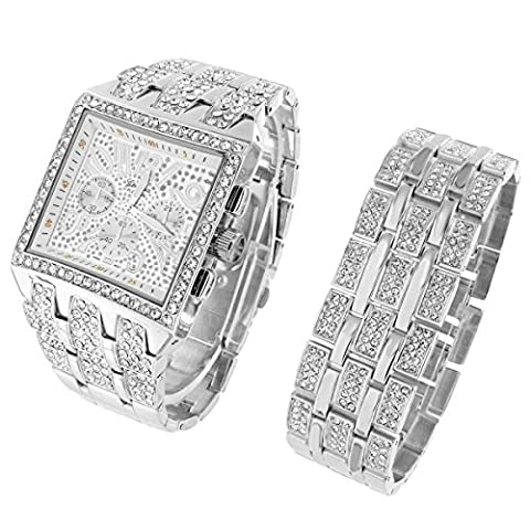 Square Face Watch Iced Out Lab Diamonds Hip Hop Full Iced Out Gift Set Free Bracelet (Iced Out Square Watch)
