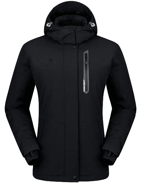 a019dd479739dd CAMEL CROWN Damen Wasserdichte Jacke, Winddicht Ski Fleecejacke Winter  Warme Jacken mit Kapuze, Regenjacke