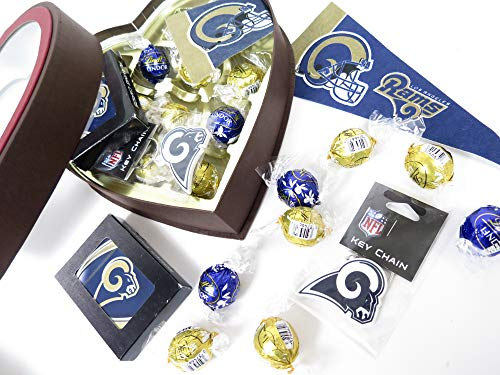 (Los Angeles Rams Playing cards, key ring and pennant are included in this large heart gift box with lindt chocolate truffles in matching tram colors.)