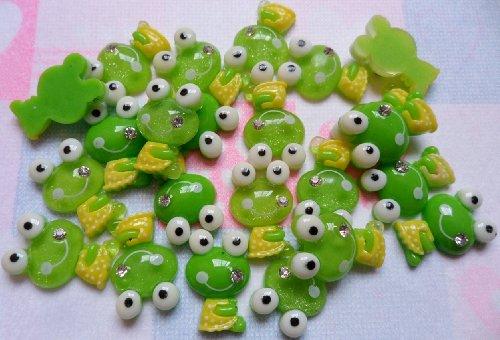 Embellishment Gem (Resin Green Keroppi Frog Smile Gem Flatback Scrapbooking Embellishments Trim Cabochon Appliques)