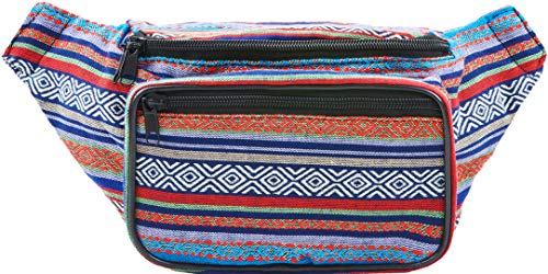 Festival Fanny Pack - Boho Packs for women, men | Cute Waist Bag Fashion Belt Bags (blue horz)