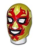 WRESTLING MASKS UK Men's Dos Caras Mexican Lucha Libre Wrestling Mask One Size Yellow/Red