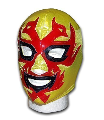 WRESTLING MASKS UK Men's Dos Caras Mexican Lucha Libre Wrestling Mask One Size Yellow/Red by Wrestling