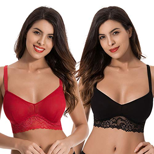 6f028470d1 Curve Muse Plus Size Plunge Unlined Bralette with Floral  Lace-2pack-BLACK