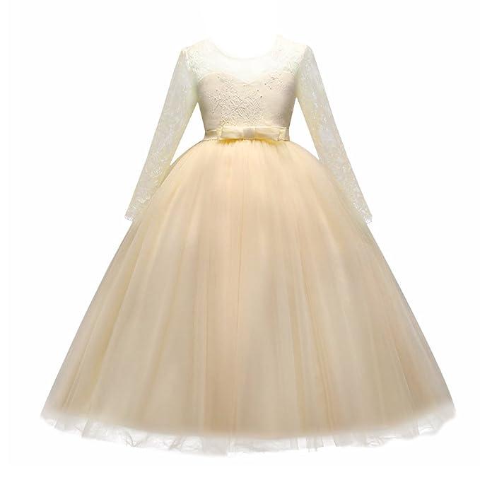 Amazon.com: IBTOM CASTLE Flower Girl Tulle Dress Floor Length Lace ...