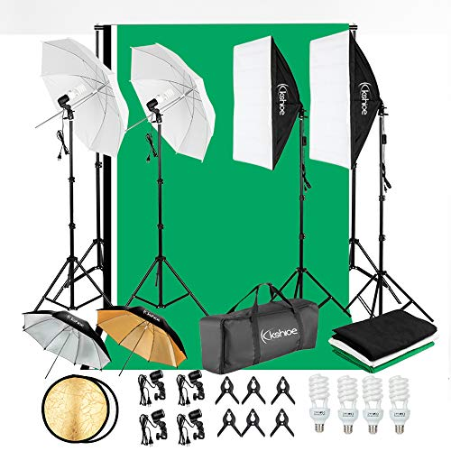 Kshioe 800W 5500K Umbrellas Softbox Continuous Lighting Kit with Backdrop Support System for Photo Studio Product, Portrait and Video Shoot Photography ()