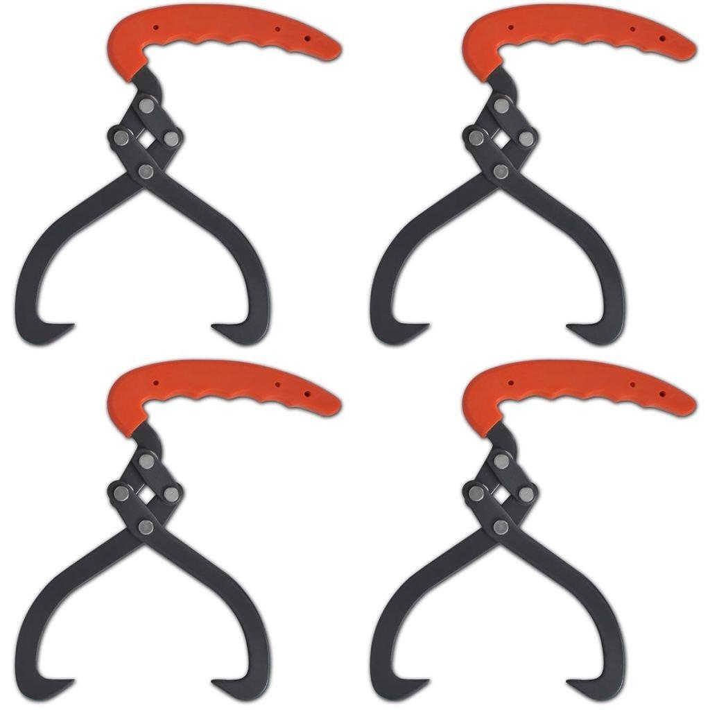 Tidyard 4 pcs Log Tongs with 2 Hooks PVC Handle by Tidyard