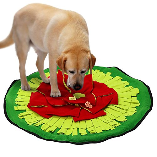 Pidsen Dogs Snuffle Mat Feeding Mat Training Mat  Flower Round Toy Large Nosework Blanket for Dog Cat
