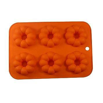 Lazo Rosa® molde de silicona Moldes Non de Stick Mold Tarta Donuts Formas Pan Moldes buñuelos Back Chapa Back Forma apto para horno/microondas Orange ...