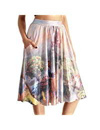 Lady Queen Women's Beauty and the Beast Stretch Waist A-line Pleated Midi Skirt