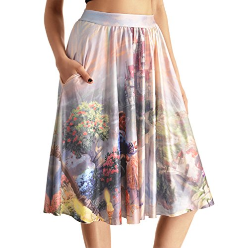 Lady Queen Women's Beauty and the Beast Stretch Waist A-line Pleated Midi Skirt with Pockets L Multicolor