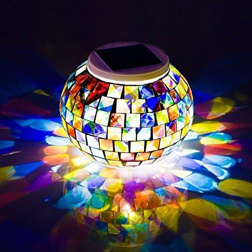 Avril Tian, lampada solare da tavolo ricaricabile, ideale per esterni e interni, a forma di sfera, con decorazione a mosaico, impermeabile