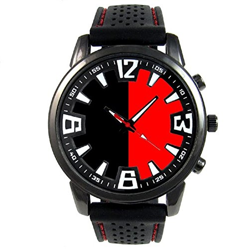 Italiy Aosta Valley Flag Mens Black Jelly Silicone Wrist Watch