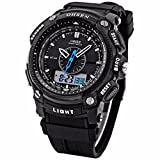 Mix&Rock OHSEN Date Day Stopwatch LCD Dual Core Sport Black Rubber Band Mens Women Watch