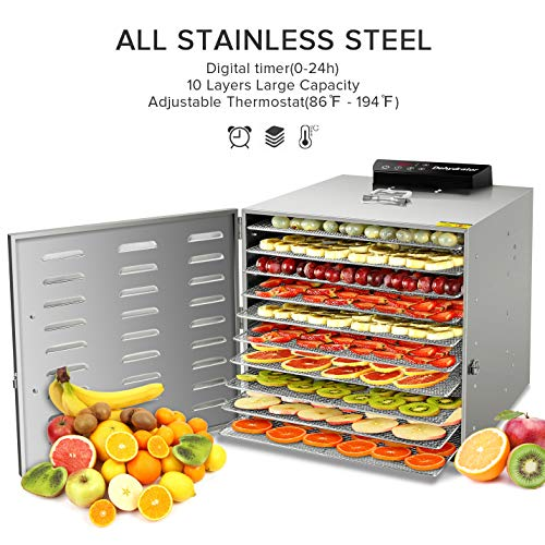 Commercial Stainless Steel Food Dehydrator -Raw Food & Jerky Fruit Dehydrator -10 Trays 1000W Preserve Food Nutrition Professional Household Vegetable Dryer, with 0~24 Hours Digital Timer