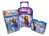 Frozen Disney Large 16' Rolling Backpack Roller Book Bag, Lunch Box, Pencil Pouch & Stationery Set