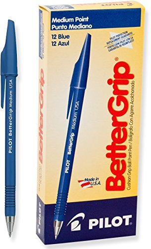 Pilot BetterGrip Cushion Grip Ball Point Pens, Medium Point, Blue Ink, Dozen Box (30051) by Pilot